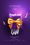 Purple Festive flyer or poster. Top view on gift box and bow with beautiful backdrop Royalty Free Stock Photos