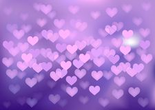 Purple festive lights in heart shape, vector. Vector background defocused festive lights, no size limit Stock Photo