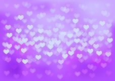 Purple festive lights in heart shape, vector. Vector background defocused festive lights, no size limit Royalty Free Stock Photography