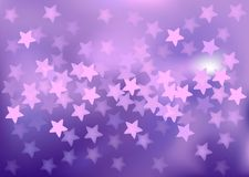 Purple festive lights in star shape, vector. Vector background defocused festive lights, no size limit Royalty Free Stock Images