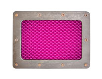 Purple fiber background plate with metal frame. And screws Royalty Free Stock Photography