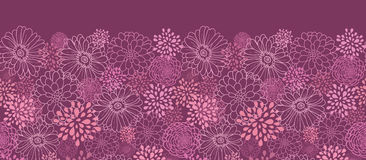 Purple field flowers horizontal seamless pattern stock photos