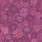 Purple field flowers seamless pattern background. Vector purple field flowers elegant seamless pattern background with hand drawn line art floral elements Royalty Free Stock Image