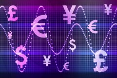 Purple Financial Sector Global Currencies Stock Images