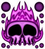 Purple Fire Skull Head Vector Illustration. On White Stock Photo