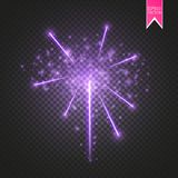 Purple Firework lights effect with glowing stars in sky  on transparent background. Vector white festive party. Rocket burst or salute show for your design. eps Royalty Free Stock Photos