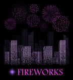 Purple firework show on night city landscape background. Vector illustration Stock Image