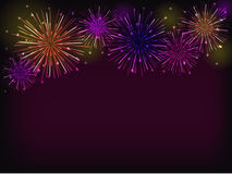 Purple fireworks. Colorful fireworks over dark background Stock Images