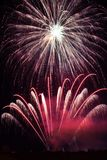 Purple fireworks display Stock Image