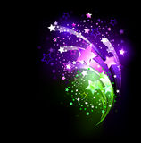 Purple fireworks. Fireworks purple and green on a black background stock illustration