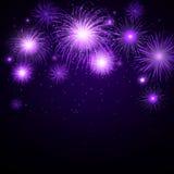 Purple Fireworks. Illustration of Purple Fireworks on dark background Stock Photo