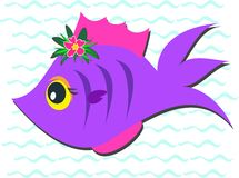 Purple Fish with Hibiscus Flower Stock Photography
