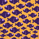 Purple Fish Seamless Pattern. Dark Violet Fish on Orange Seamless Pattern. Illustration of Sea Life Royalty Free Stock Image