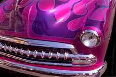 Purple Flames. Close up of a Old Chevy with flames Royalty Free Stock Image
