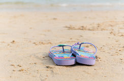 Purple flipflop. On sand beach stock photo