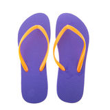 Purple flipflops. For the summer isolated over white background stock photography