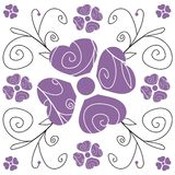 Purple Floral. Hearts and flowers swirl in purple and black. Artistic abstract illustration Stock Photography
