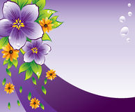 Purple floral background with dew-drop. Purple background with flowers and dew-drop, vector, illustation Stock Photo