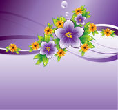 Purple floral background with dew-drop. Purple background with flowers and dew-drop, vector, illustration Royalty Free Stock Photo
