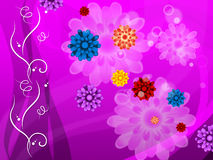 Purple Floral Background Means Colorful Flowers And Petals Stock Image