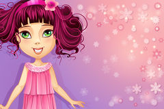Purple floral background with a young girl in a pink dress Royalty Free Stock Photos