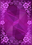 Purple floral border. Abstract floral border on a purple polygonal background Stock Photography
