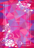 Purple floral border. Abstract floral border on a purple polygonal background Royalty Free Stock Images