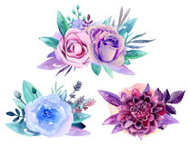 Purple floral bouquet vector. Blue watercolor flowers arrangement clip art Royalty Free Stock Images