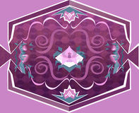 Purple Floral Carpet with Geometrical Objects Royalty Free Stock Photography