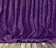 Purple floral curtains background Royalty Free Stock Photo