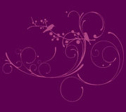 Purple floral with foliage vector Royalty Free Stock Image
