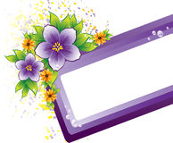 Purple floral frame with dew-drop Royalty Free Stock Image