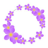 Purple floral frame isolated Stock Photography