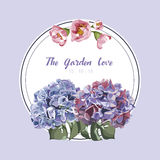 Purple floral in garden invitation card, flower pattern Royalty Free Stock Images