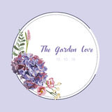 Purple floral in garden invitation card, flower pattern Stock Photo