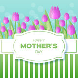 Purple Floral Greeting card - International Happy Mothers Day Stock Image