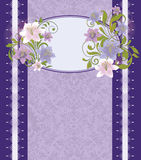 Purple Floral Invitation Card,Vector Stock Photo