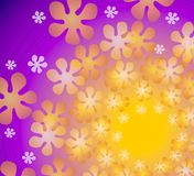 Purple Floral Kaleidoscope. An abstract retro floral pattern with an an explosion of gold purple and white flowers set against a purple gold gradient background Royalty Free Stock Photography