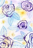 Purple floral pattern. Hand drawn watercolor floral  background image Stock Images