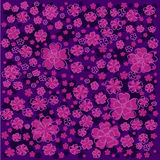 Purple floral pattern with lined and colored flowers on dark violet background Stock Photo