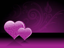 Purple floral pattern with set of heart Stock Photos