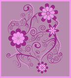 Purple floral spirals. Flowers with swirls and spirals in pink and purple on a lilac background; use for postcards, labels, invites, greeting cards and more Stock Photography