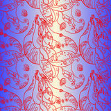 Purple Floral Swirls Bean Seamless Pattern Background Stock Photo