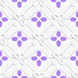 Purple flourish simple diagonal pattern. Abstract 3d seamless background. Purple flourish simple diagonal pattern with cut out of paper 3d effect vector illustration