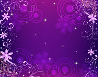 Purple flower background. Illustration drawing of flower pattern with circle in purple background Royalty Free Stock Image