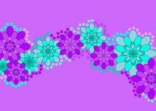 Purple flower banner. Pretty blue and purple flowers across the middle of a lilac background with blank copy-space both above and below (postcards, greeting Stock Image