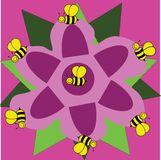 Purple flower with bees. Drawing purple flower with bees , designed to be print on t-shirts, notebooks home, cartoon character, a character from a children's stock illustration