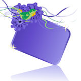 Purple Flower and Bird Gift Tag Royalty Free Stock Photography