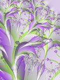 Purple Flower Blossoms Fractal. An abstract fractal floral bouquet in soft light purple tones. Ideal as a background, layer or texture royalty free stock image