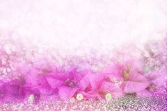 Purple flower Bougainvillea frame on bokeh glitter background idea for valentine or wedding invitation card Stock Photography